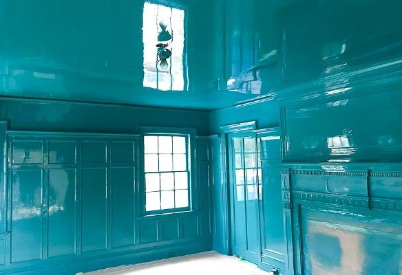 teal high gloss ceiling and walls