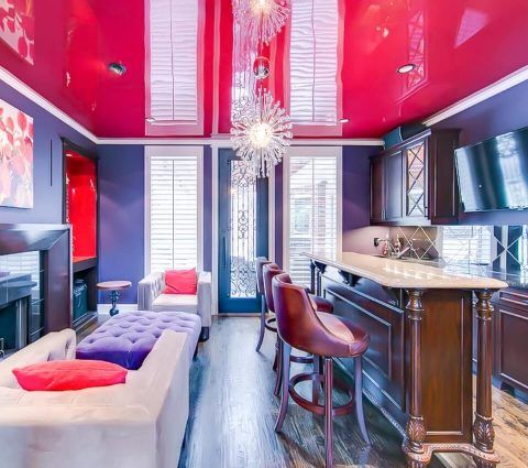 red high gloss ceiling