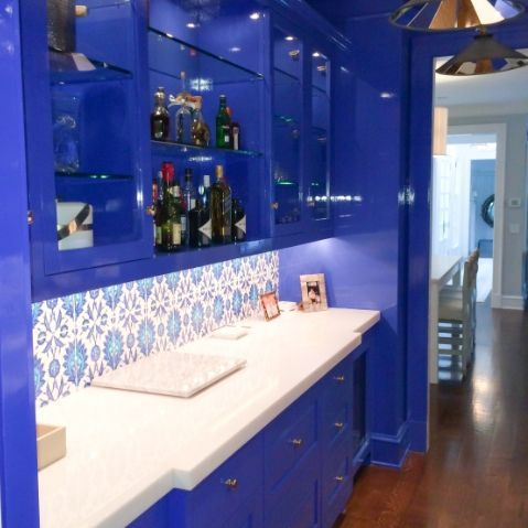 royal blue high gloss cabinets