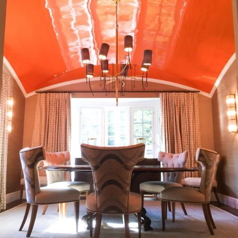 orange high gloss ceiling